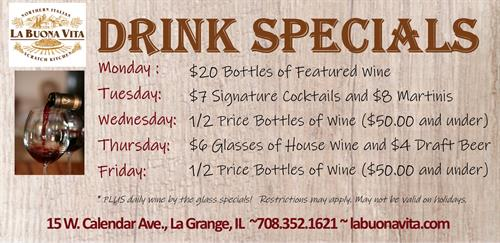 Daily Drink Specials at La Buona Vita