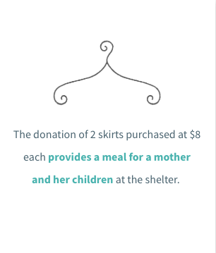 The donation of two skirts, purchased at The Hope Chest for $8 each, provides a meal for a mother and her children at the Constance Morris House.