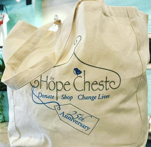 We're celebrating our upcoming 25 year anniversary with these super cute reusable shopping bags! Donate to our special project to help fund facility upgrades and improvements at The Constance Morris House and receive a Hope Chest anniversary bag! (Suggested donation $8)