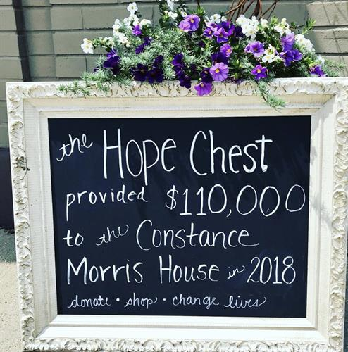 The Hope Chest provided $110,000 to the Constance Morris House in 2018. Shop, donate, save lives!