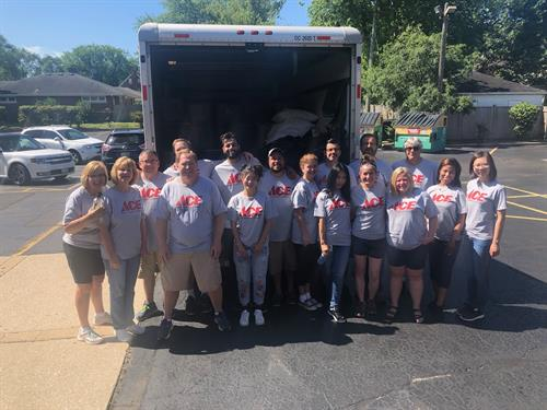 Ace Hardware corporate employees helped Beds Plus with shelter moves and clean up during their #AceCaresWeek.