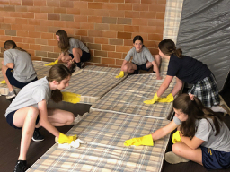 Thank you to the 7th grade students at St. Francis Xavier School who helped with shelter cleanup