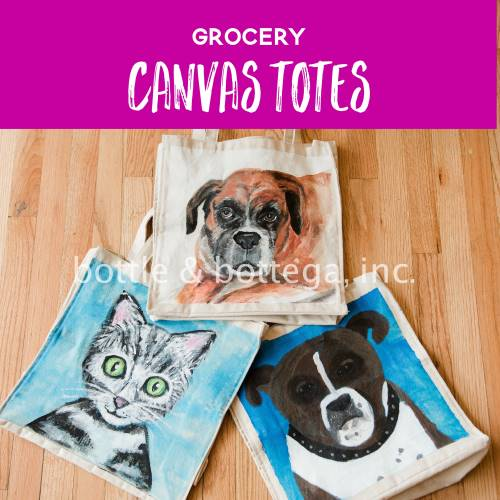 Paint Your Pet on Grocery Canvas Totes