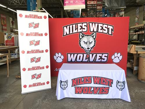 Retractable Banner, Media Backdrop, and Table Throw