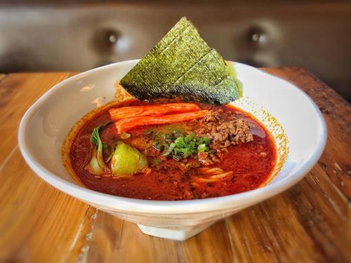 Spicy Tantan Ramen w/ extra spicy & crabstick