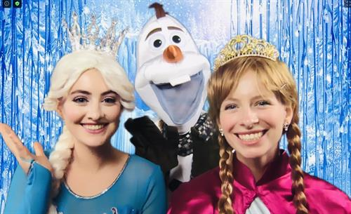 Elsa and Anna with special friend Olaf delight all the time!