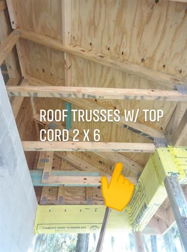 Standard Spec: Roof trusses with 2 x 6 top cord