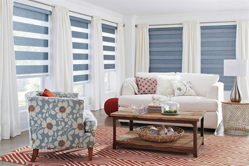 Banded Shades: Very modern with clean lines and a stylish fabric options.  Lower then all the way down to block the view or raise slightly to expose the shear portions.  Or, raise them up completely.