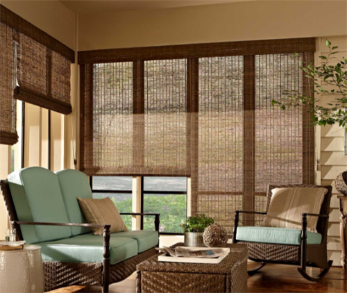 Natural Wood Woven Shades:  Our personal favorite.  All hand woven wood, bamboo, or grass fabrics. Absolutely gorgeous!