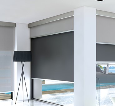 Dual Roller Shade:  3% screen fabric room side; blackout fabric with zipper side channels window side