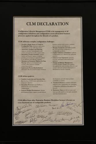 The signed Configuration Lifecycle Mangaement Declaration, inventing the concept of Configuration Lifecycle Management and establishing our vision for configuration solutions.