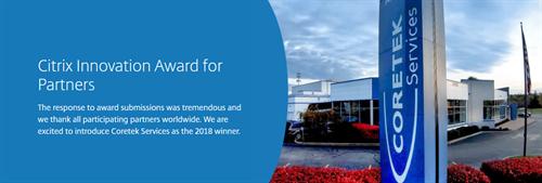 Thank you! Coretek Wins Citrix Innovation Award for Partners 2018