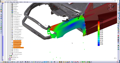 Finite Element Analysis FEA - on an automotive quarterpanel in CATIA