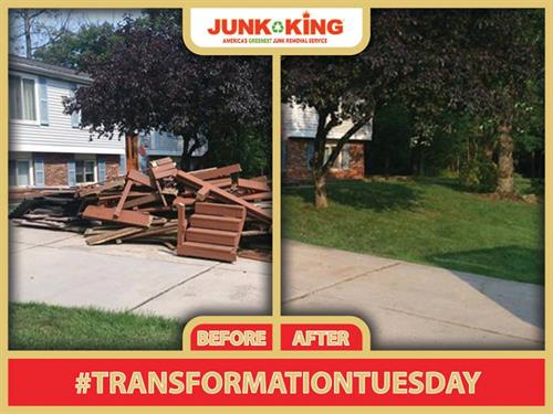 Remodeling debris taking up the front yard--Call JUNK KING to Haul it Away