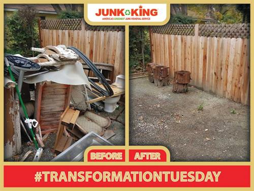 Remodeling debris piled up in the back yard--JUNK KINK makes it go away
