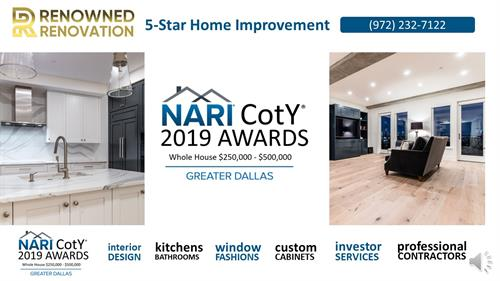 2019 Dallas NARI Contractor of the Year for Whole House Remodeling with Budget of $250,000 - $500,000