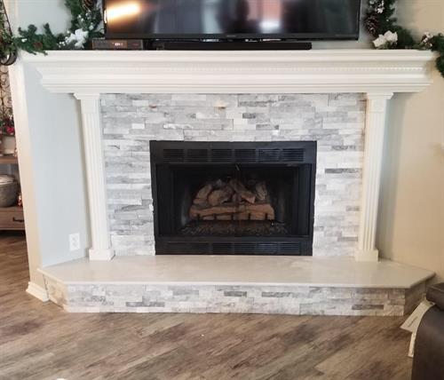Ledge stone fireplace remodel