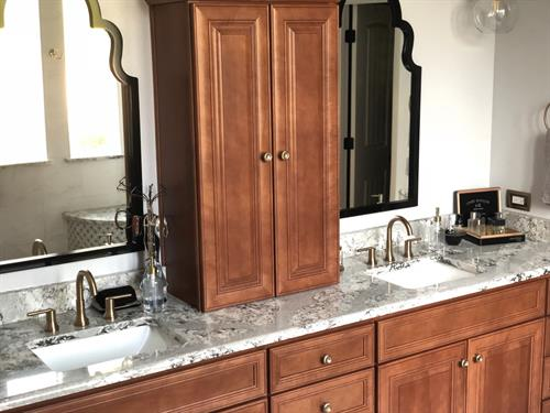 Custom vanity featuring Cambria quartz