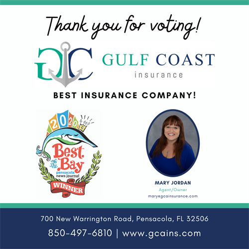 Gulf Coast Insurance Best of the Bay Winner 2020