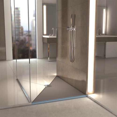 wedi Fundo Primo shower pan with center drain.