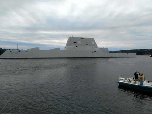 DDG 1001 under way from Bath, ME to San Diego (with RSL Topside Lights)