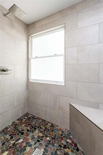 Sophisticated Country River Stone Shower Floor