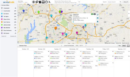 Map-based scheduler shows technicians and available jobs.