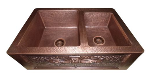 Handmade Copper Farmhouse Sink 60/40