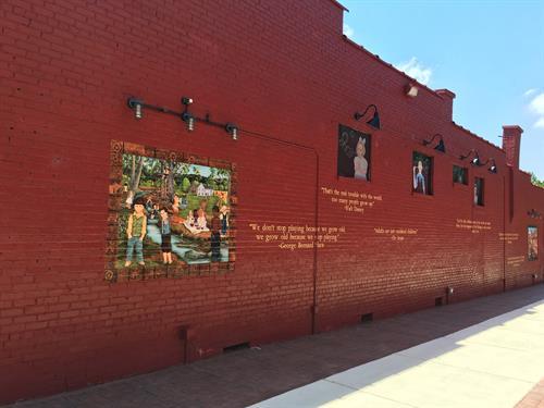 Exterior brick alleyway graphic