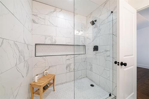 Custom tiled master shower