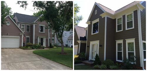 Before and after Belk Builders window and siding replacement.