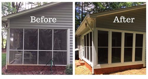 Before and After Sunroom Addition in Belmont, NC, by Belk Builders