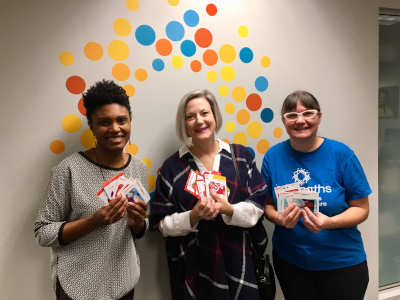 Britepaths receiving Holiday gift cards for our clients