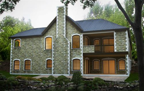 Stone Facade Veneer Home Daylight Basement