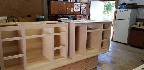 Two custom vanity cabinets.