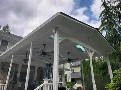 Cathedral Patio Cover with fans,skylights, and roofing options
