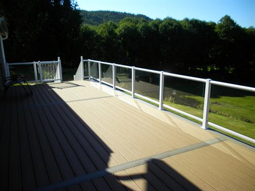 Composite Deck with border design and Glass Hand Rails