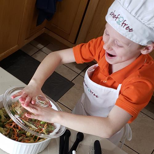 Kids are motivated to explore new foods that are healthy and safe when they cook it themselves!