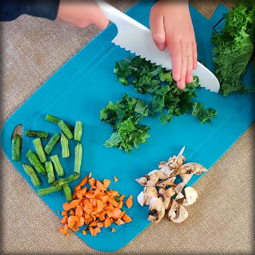 Practice essential cooking skills with tools that are safe for kids to handle.