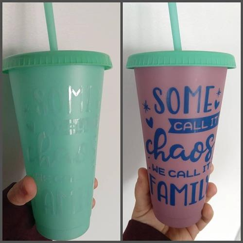 Color changing cup with color changing vinyl