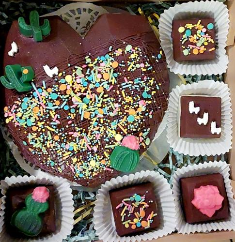 Brakable heart with surprise treats inside and gourmet oreos covered in chocolate decorated with cute llama figures and different flowers, cactus made them from chocolate
