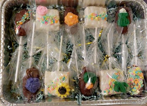 Rice krispies and strawberry cheese cake cookies covered in chocolate decorated with cute chocolate figures like flowers and cactus