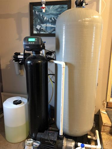 The entire setup includes a reverse osmosis system, methane removal, sulphur removal, a mixed carbon tank, and chlorine injection- this kills bacterial iron and sulphur while purifying your drinking water.