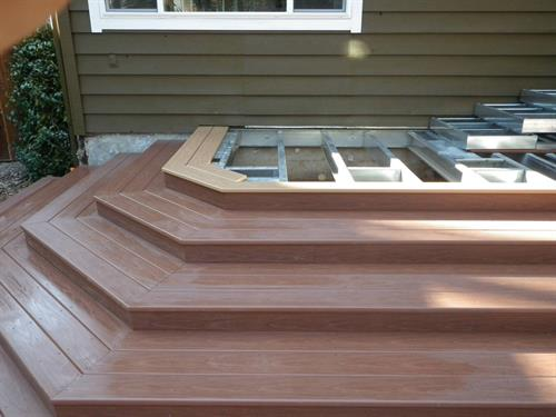 This client chose composite decking for the deck and stair treads.