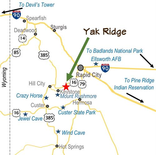 Centrally located in the Black Hills just 3/4 mile from Highway 16, Yak Ridge offers the best of both worlds â?? easy access as well as peace and tranquility.  Yak Ridge is only a short drive from Mount Rushmore, Crazy Horse, Custer State Park, Sheridan Lake, Pactola Reservoir, Mickelson Trail, 1880 Train, Bear Country, Reptile Gardens, hot air balloon rides, caves, rock climbing, museums, and many other area attractions and adventures.