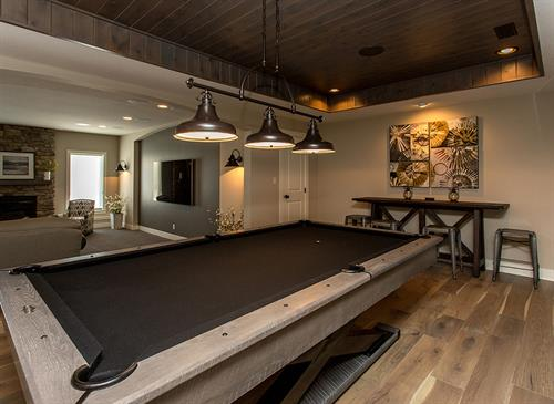 Game Room with Stained Ceiling