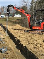 Installing pilings capped with rebar heads