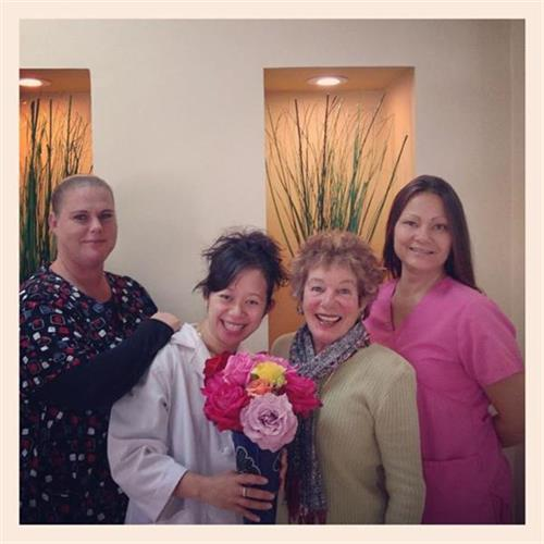 Most of the time patients come to us when they need dental work, but patient Judy enjoys our office so much she comes by just to say hi and drop off beautiful flowers! We have the best patients! Thanks Judy!