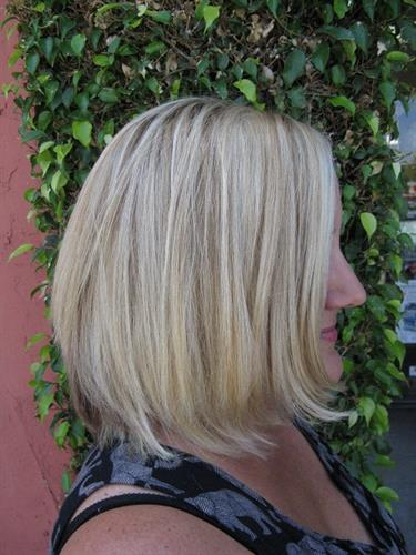 Highlights & haircut by owner/stylist Donna Strachan