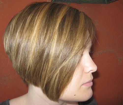 Color and haircut by stylist Andria Hastings.